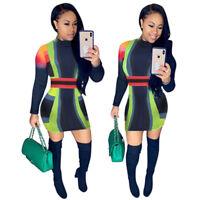 Fashion Women Mock Neck Colors Patchwork Print Bodycon Clubwear Party Mini Dress