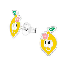 Girls Yellow Lemon Face Sterling Silver Stud Earrings 10mm