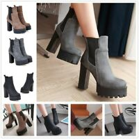 High Block Platform Leather Boots Women Ankle Boots Fashion Pull On Shoes New
