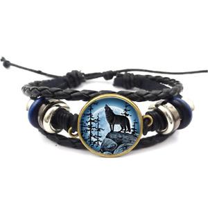 Wolf Moon Glass Cabochon Bracelet Braided Leather Strap Bracelet