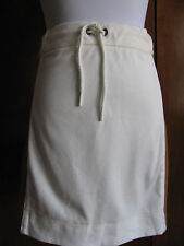 Lacoste designer woman's off white brown cotton leather skirt 44 US 12