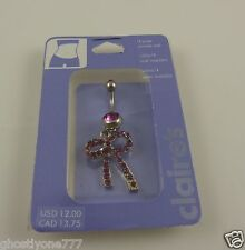 silverton pink crystal bow belly button naval ring piercing body jewelry Claires