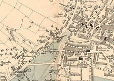 1881 HAND COLOURED MAP ~ PLAN of PLYMOUTH DEVONPORT DOCKS STREETS BUILDINGS etc