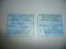 LOT OF 2  ITALY ITALIAN BUS TICKET TONFANO FIRENZE FLORENCE 1953