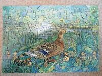 "Wentworth 140 Piece ""Duck & Ducklings"" Wooden Jigsaw Puzzle In Box Ducks Water"