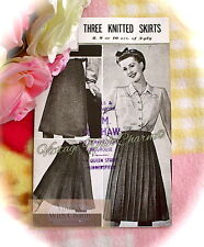 Vintage 1940s Knitting Pattern Instructions For '3 Knitted Skirts'. FREE U.K P&P