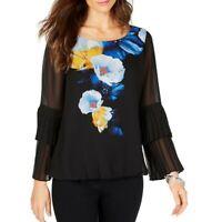 ALFANI NEW Women's Black Floral Tiered-sleeve Bubble Blouse Shirt Top XXL TEDO