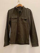 ALLSAINTS ' Cadet ' Military Brown Khaki Green Linen Cotton Shirt Size XS