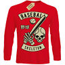 Baseball Teschio T-Shirt Player Scheletro T-Shirt Uomo Manica Lunga