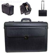 Large Rolling Briefcase Black 17in Laptop Business Travel Case Bag Pilot Carryin