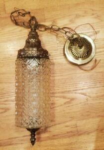 Vintage Brass MCM Hanging Chain Ceiling Pendant Glass Light Fixture