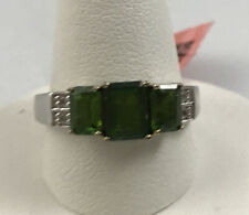 Solid Sterling Silver Emerald Cut Green Garnet ? 3 Stone Ring Clear Accents SZ 9