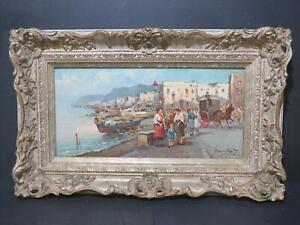 Naples? Napoli? 1970s Oil Signed Italy Italian Harbour Fishing Village
