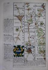 GLOUCESTER ABINGDON FAIRFORD LECHLADE  BY EMANUEL BOWEN GENUINE ANTIQUE c1720