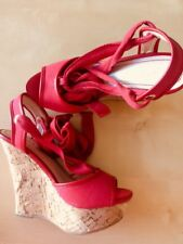 Red Platform Cork Wedges Heels 35