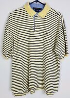 Tommy Hilfiger sz L Yellow Striped Lions Crest Short Sleeve Polo
