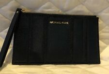 NEW MICHAEL KORS LEATHER LARGE ZIP CLUTCH/WRISTLET IN NAVY And DENIM