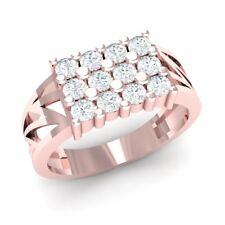 0.25carat Round Diamond Mens Fancy 3Row Fashion Anniversary Ring 14K Rose Gold