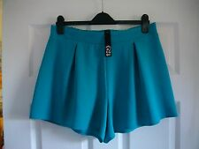 """G21 Turquoise/teal Textured Hot Pants 13"""" Elasticated Short Shorts Size 8"""