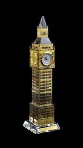 London Big Ben Clock Metal Plated Crystal Glass With Lights Souvenir Gift