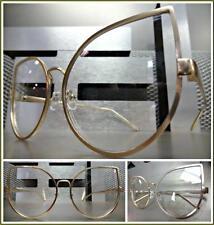 Women's OVERSIZED VINTAGE RETRO CAT EYE Style Clear Lens EYE GLASSES Gold Frame
