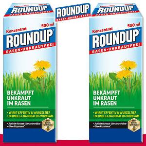 Roundup Rasen-Unkrautfrei 2x 500 ml Konzentrat Klee Bekämpfung Ampfer Quecke