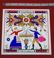 """Vintage Swedish Kurbits 6"""" Tile Trivet Folk Art """"Valkommen"""" """"Lindsborg"""""""