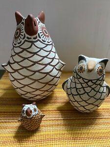 Lot of three Native American Effigy Owl Pottery. Zuni and Acoma New Mexico used
