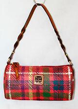 NWOT $128 DOONEY & BOURKE Small Barrel Bag TK495 Red Plaid PVC w/ Lthr Trim