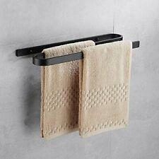 Towel Holder with Dual Bar, 18 Inch Towel Shelf Aluminum Wall Mounted, Black