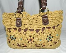 St Johns Bay Braided Paper Straw Like & Brown Faux Leather Beaded Shoulder Bag