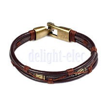 Mens Leather Braided Wrist Cuff Band Brown Rope Bracelet Bangle 8.5in DE