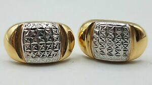 14K 2-Tone Yellow/White Gold Etched Pierced Earrings, 2G. AET068