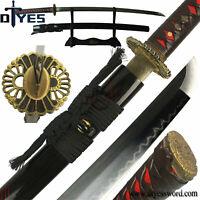 Full Tang T10 Carbon Steel Clay Tempered Blade Japanese Samurai Katana Sword