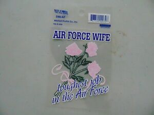 WINDOW DECAL STICKER APPROX 4 INCH AIR FORCE WIFE TOUGHEST JOB IN THE AIR FORCE