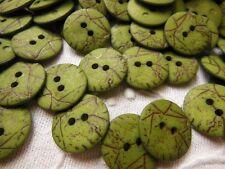 lot 20 bottoni verde effetto craquelé 2 trous couture diametro: 1,5 cm ref 193