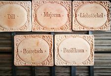 5x Kräuterschilder Terracotta Dill Majoran Borretsch Basilikum Liebstöck