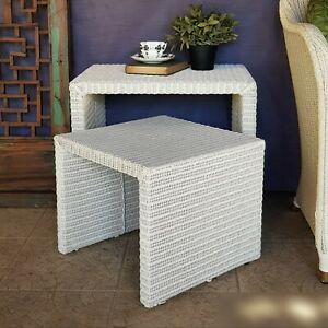 Lloyd Loom Set of 2 Side Tables by Vincent Sheppard, Hamptons, Indoor Outdoor.