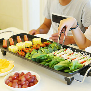 Electric Nonstick Teppanyaki Table Top Grill Griddle Barbecue BBQ Home/Camping
