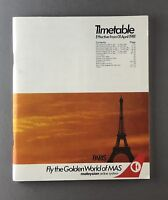 MALAYSIAN AIRLINES SYSTEM MAS TIMETABLE APRIL 1981 SEAT MAPS DC10 A300 737 F27