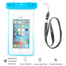 Blue Waterproof Case Cell Phone Dry Bag+Strap-iPhone 8 X 7 6S+ all Smart Phones
