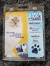 Soft Claws Nail Caps for Cats - Size Medium in Blue - Nib - 40 caps+adhesive!