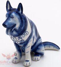 Porcelain German Shepherd w medals Mухтар Dog Figurine Souvenir Gzhel handmade