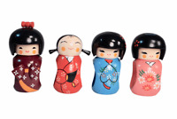 Japanese Japan Kokeshi Wooden Geisha Hand Carved Girl Dolls Tablecloth Set of 4