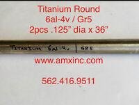 """TITANIUM ROUND BAR 6AL-4V 2PCS .125"""" DIA X 36"""" LONG"""