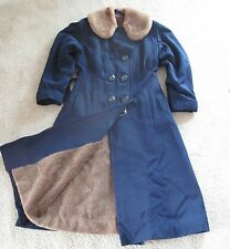 Womens Vintage Navy Blue Wool Winter Coat Small 1940s Alpaca Lined