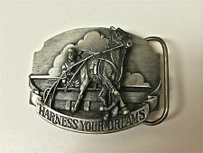 PEWTER BELT BUCKLE HARNESS YOUR DREAMS RACING HORSE BUY 2 AND GET FREE SHIPPING