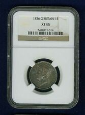 G.B./ENGLAND GEORGE IV  1826  1 SHILLING SILVER COIN CERTIFIED BY NGC XF-45