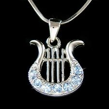 Blue Lyre made with Swarovski Crystal HARP music Musical Instrument Necklace New