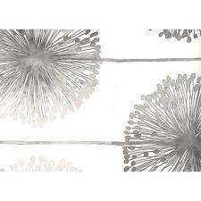 DANDELION SHIMMERING SILVER WHITE FLORAL FLOWER MURIVA FEATURE WALLPAPER J04209